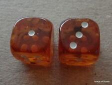 set of 2 Natural honey   Baltic Amber dice  large 14 mm