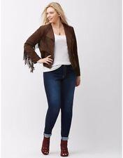 new LANE BRYANT faux suede hippie fringe accent jacket coat 26 28