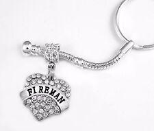 Fireman key chain  Fire girl jewelry  Fire girl gift  Crystal Heart Charm