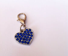 Blue Sparkle Crystal Heart Charm for Wedding Gift / Favour / Something Blue