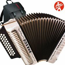Hohner Corona II Xtreme FBE 34 Button Diatonic White Accordion + Straps and Bag