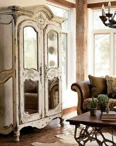Shabby French Chic Restoration Mirrored Armoire Wardrobe Solid Mahogany Stunning