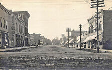 Decatur MI Dirt Main Street Store Fronts Post Office Signed Childs RPPC Postcard