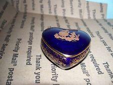 22K Limoges Heart Trinket Holder/Castel France/Cobalt Blue/Fragonard Couple