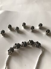 Large Skull Zirconia Bead Charm Sterling Silver Plated Fit Thomas Sabo Bracelet