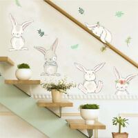 rabbit flower wall stickers for kids rooms home decor wall decals pvc diy art ^D