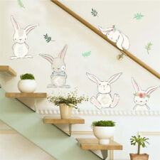 rabbit flower wall stickers for kids rooms home decor wall decals pvc diy art Rs