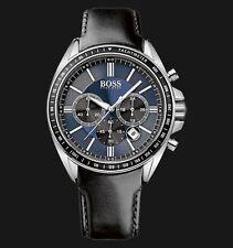 *NEU* Original Hugo Boss Herrenuhr 1513077 Chronograph Leder Schwarz Blau Silber