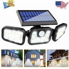 LED 3 Head Outdoor Solar PIR Motion Sensor Wall Flood Light Garden Security Lamp