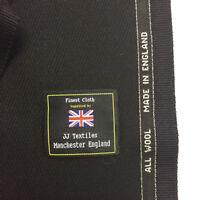 Black Cavalry Twill Pure Wool Jacket, Coat Fabric