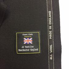 WILLIAM HALSTEAD Black Cavalry Twill Pure Wool Jacket, Coat Fabric.