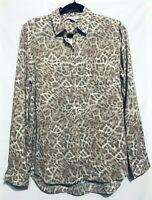Beach Lunch Lounge Alanna Button Up Blouse Cheetah Size Medium Womens