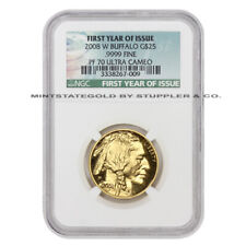 2008-W $25 Gold Buffalo NGC PF70UCAM 1/2 oz Proof w/ First Year of Issue label