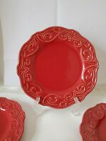 "4 Pieces Of Chris Madden Corvella Red 9"" Salad Plates Embossed Motif"