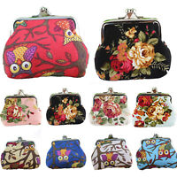 Retro Women Girls Change Coin Purse Floral Hasp Clutch Mini Wallet Pouch Handbag