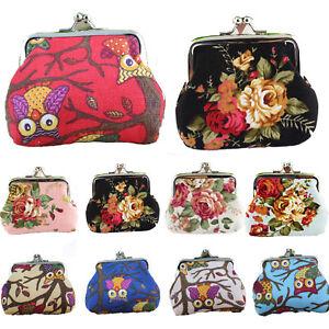 Retro Women Girl Change Coin Purse Floral Hasp Mini Wallet Clutch Small Handbag