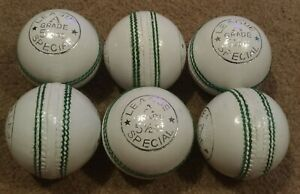 6x WHITE Cougar 4 Piece LEAGUE SPECIAL Training Quality Cricket Ball - Oz Stock
