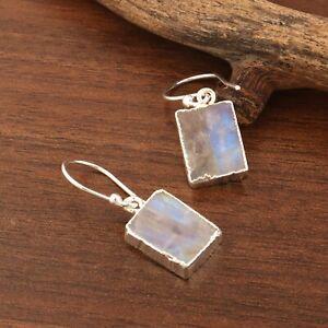 Real Rainbow Fire Moonstone Silver Electroplated Drop Dangle Handmade Earrings