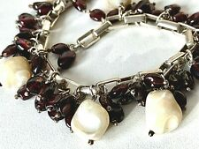 STATEMENT - Sterling Silver CHUNKY Red & Cream Beaded Charm Dangle Bracelet