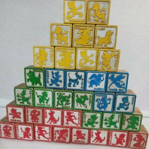 Vintage Disney Children's Wooden Building Blocks lot of 35 Letter & Numbers ABC