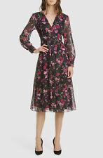 $670 Ted Baker London Women's Black Adriela Floral V-Neck Fit & Flare Dress 1
