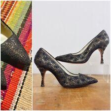Vtg Womens 1960's Spiderweb Glitter Black And Gold Heels Shoes Sz 6.5 60s Pinup