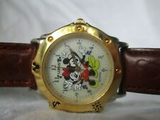 Lorus Mickey & Minnie Mouse Brown & Gold Toned Wristwatch WORKING!