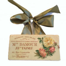 French Marble Tile Decorative Small Sign Handmade Vintage Ad D'Amour