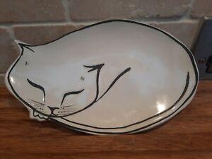 Anthropologie Leah Reena Goren Ceramic Sleeping Cat Trinket Tray Spoon Rest