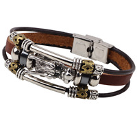 Men Punk Leather Rope Wristband Bangle Stainless Steel Dragon Accessory Bracelet
