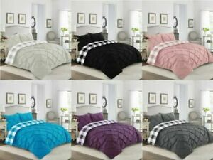 DUVET COVER SET PINTUCK CHECK LUXURY QUILT COVERS DOUBLE KING SUPER KING SIZE