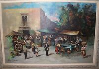 LARGE vintage original fruit vegetable farmers market landscape oil painting