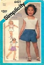 Simplicity # 6421 Sewing Pattern: Child's Pull-On Shorts And Pullover Top Size 4