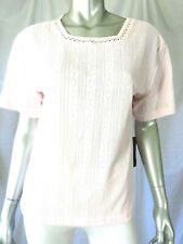 JENNY BUCHANAN SZ S NWT Pale Pink Square Neck Perforated Knit Sweater Pullover