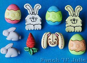 FUNNY BUNNY - Easter Egg Rabbit Carrot Spring Children Novelty Craft Buttons