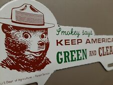 US Dept. Agriculture Smokey Bear Keep America Green Clean Porcelain Sign Topper