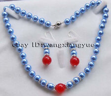 8-12MM Blue Sea Shell Pearl/Red Jade Sea Shell Pearl Beads Necklace Earrings Set