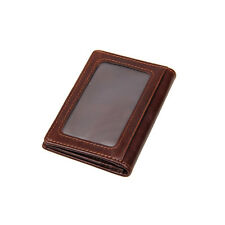 RFID Wallet Men Small Genuine Leather Brown Pocket Money ID Credit Card Holder