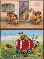 2 ANTIQUE POSTCARDS EASTER GREETING CHICKS SCHOOL EGG CART BOY UNUSED EMBOSSED