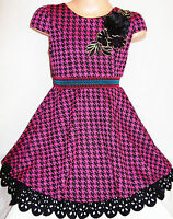GIRLS 50s STYLE DARK PINK BLACK DOGTOOTH SUEDETTE SKATER PARTY DRESS age 2-3