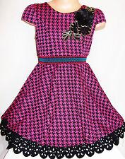 Le ragazze 50 S Stile Scuro Rosa Nero Dogtooth Suedette Skater abito da sera età 2-3
