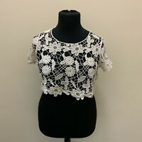 Primark Flower Crochet Crop Top Size 6/8 100% cotton Extra Small New Hippy Boho
