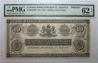 CANADA Halifax Bank of British N. America 10 Dollars 1871 PROOF PMG 62 NET RARE