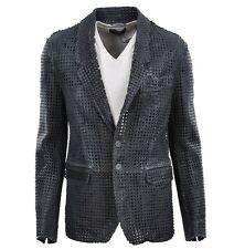 DOLCE & GABBANA RUNWAY Netz Lederjacke Jacke Grau Leather Jacket Grey Veste 0213