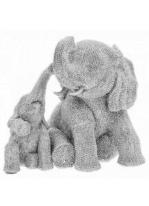 Leonardo Silver Art Lucky ELEPHANT AND BABY Ornament Sparkling Silver Diamante
