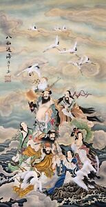 100% ORIENTAL ART CHINESE FIGURE WATERCOLOR PAINTING-Eight Immortals cross sea