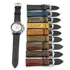 20-24mm Genuine Leather Retro Watch Strap Bracelet Buckle Replacement Wrist Band