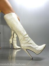MORI MADE IN ITALY KNEE HIGH SEXY BOOTS STIEFEL STIVALI LEATHER GOLD PLATINO 43
