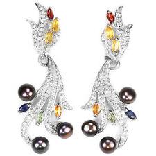 925 Sterling Silber Ohrringe, Weisgold Beschichtet, Perlen, Mehrfarbige Saphir