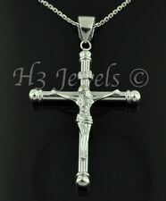 18k solid white gold JESUS CHRIST cross pendant  #939 h3jewels 4.80 grams